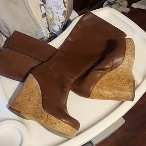 Shoes - Leather Knee High Cork Boots Size 5